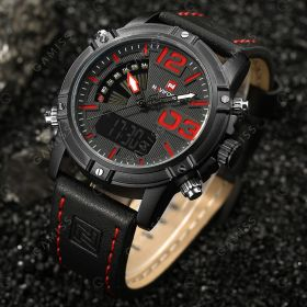 NAVIFORCE 9095 Luminous Faux Leather Strap Analog Digital Watch 42.29% 세일