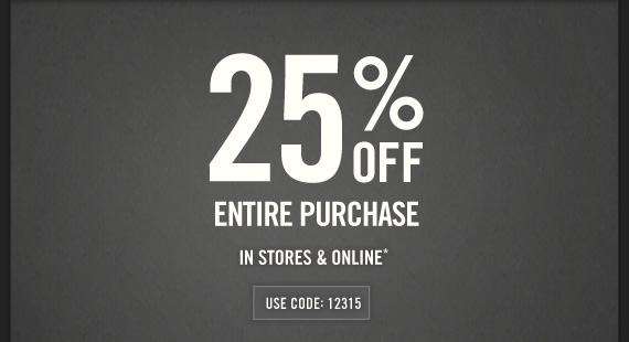 Abercrombie & Fitch 25% OFF