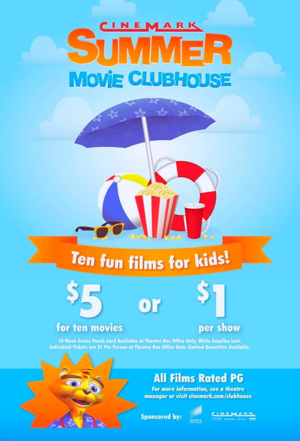 Cinemark 영화관 여름 아이들 영화티켓 $1