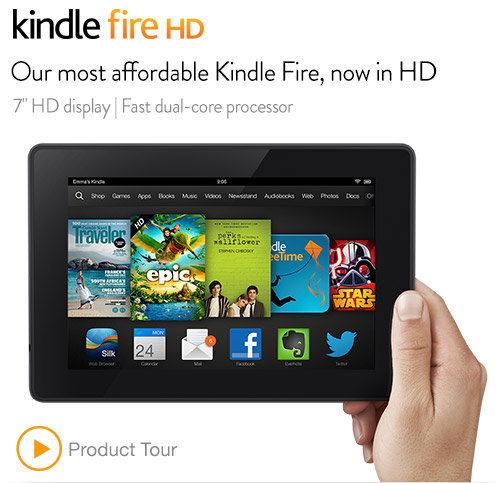 Kindle Fire HD 7 inch 태블릿 8GB 메로리 (2nd Generation) - 검정색