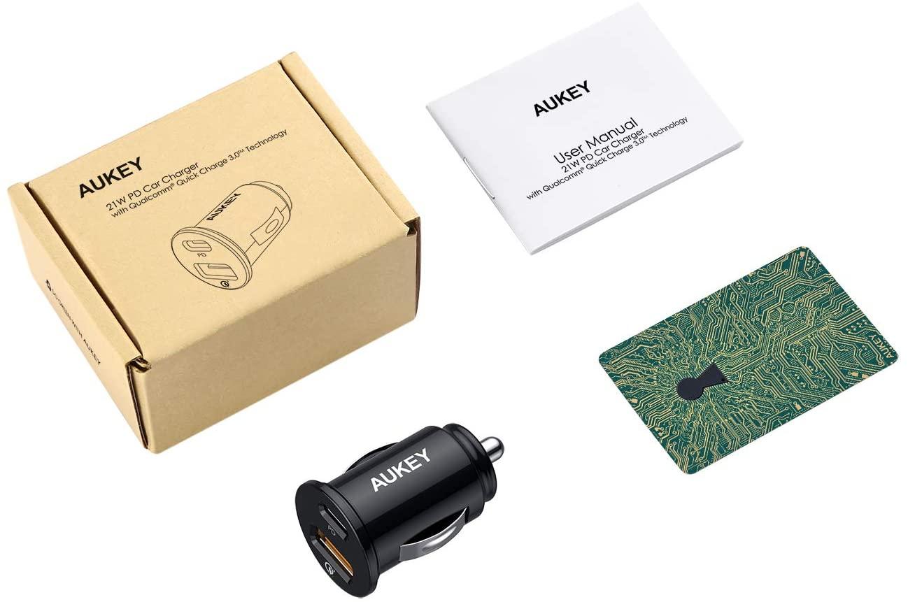 AUKEY USB C, PD + 퀵차지 차량용 충전기