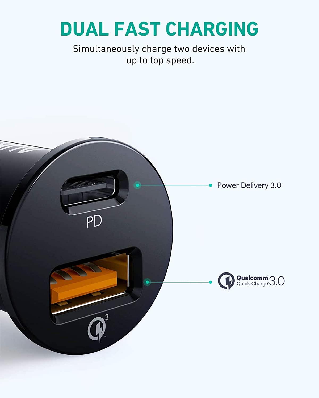 AUKEY USB C, PD + 퀵차지 3.0 USB 차량용 충전기