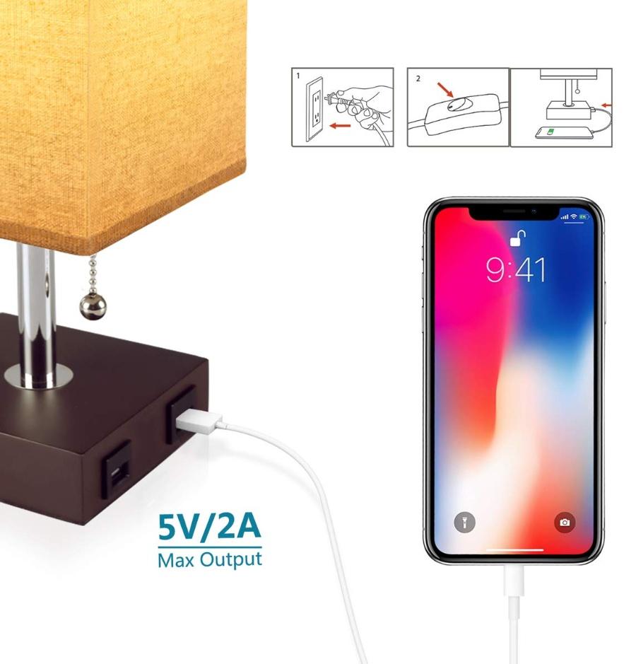 베드사이드 테이블 램프 /w USB 충전 포트 2개