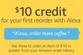 아마존 알렉사 (Alexa) 사용 재주문시 $10 크레딧 (프라임 딜)